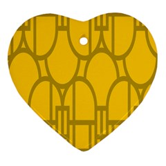 The Michigan Pattern Yellow Heart Ornament (two Sides)