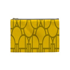 The Michigan Pattern Yellow Cosmetic Bag (Medium)