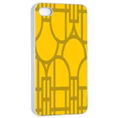 The Michigan Pattern Yellow Apple iPhone 4/4s Seamless Case (White)