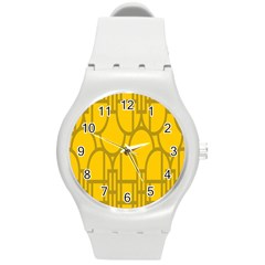 The Michigan Pattern Yellow Round Plastic Sport Watch (m)