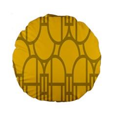 The Michigan Pattern Yellow Standard 15  Premium Round Cushions