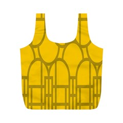 The Michigan Pattern Yellow Full Print Recycle Bags (M)