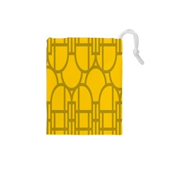 The Michigan Pattern Yellow Drawstring Pouches (Small)