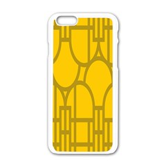 The Michigan Pattern Yellow Apple iPhone 6/6S White Enamel Case