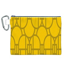 The Michigan Pattern Yellow Canvas Cosmetic Bag (XL)
