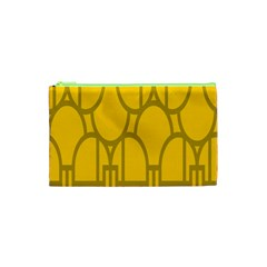 The Michigan Pattern Yellow Cosmetic Bag (XS)