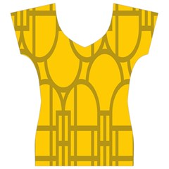 The Michigan Pattern Yellow Women s V-Neck Cap Sleeve Top