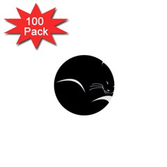 Cat Black Vector Minimalism 1  Mini Buttons (100 pack)