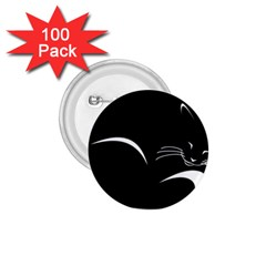 Cat Black Vector Minimalism 1.75  Buttons (100 pack)