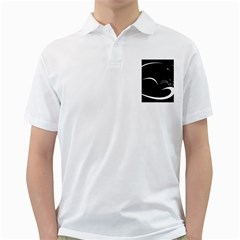 Cat Black Vector Minimalism Golf Shirts