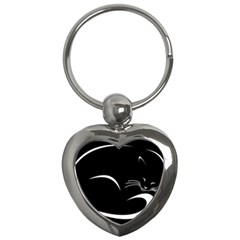 Cat Black Vector Minimalism Key Chains (Heart)