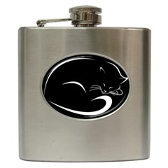 Cat Black Vector Minimalism Hip Flask (6 oz)
