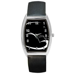 Cat Black Vector Minimalism Barrel Style Metal Watch