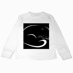 Cat Black Vector Minimalism Kids Long Sleeve T-Shirts