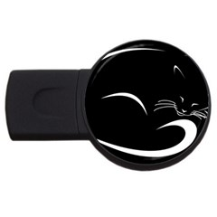 Cat Black Vector Minimalism Usb Flash Drive Round (4 Gb)