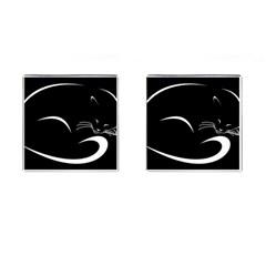 Cat Black Vector Minimalism Cufflinks (square)