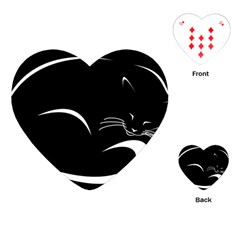 Cat Black Vector Minimalism Playing Cards (heart)