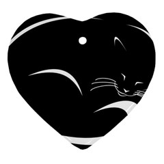 Cat Black Vector Minimalism Heart Ornament (Two Sides)