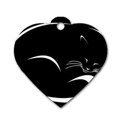 Cat Black Vector Minimalism Dog Tag Heart (one Side)