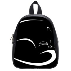 Cat Black Vector Minimalism School Bags (Small)