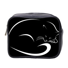 Cat Black Vector Minimalism Mini Toiletries Bag 2 Side