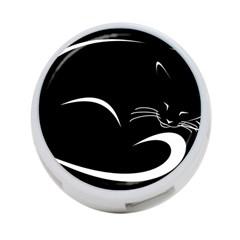 Cat Black Vector Minimalism 4 Port Usb Hub (two Sides)