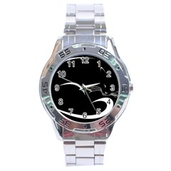Cat Black Vector Minimalism Stainless Steel Analogue Watch