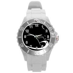 Cat Black Vector Minimalism Round Plastic Sport Watch (l)