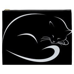 Cat Black Vector Minimalism Cosmetic Bag (XXXL)