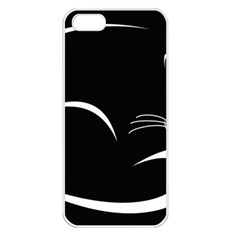 Cat Black Vector Minimalism Apple iPhone 5 Seamless Case (White)