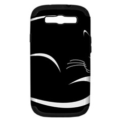 Cat Black Vector Minimalism Samsung Galaxy S III Hardshell Case (PC+Silicone)