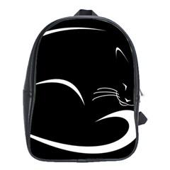 Cat Black Vector Minimalism School Bags (XL)