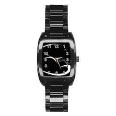 Cat Black Vector Minimalism Stainless Steel Barrel Watch