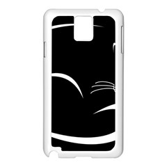 Cat Black Vector Minimalism Samsung Galaxy Note 3 N9005 Case (White)
