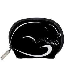 Cat Black Vector Minimalism Accessory Pouches (Small)
