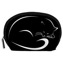 Cat Black Vector Minimalism Accessory Pouches (Large)