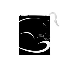 Cat Black Vector Minimalism Drawstring Pouches (small)