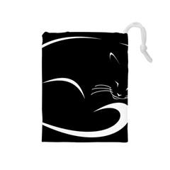 Cat Black Vector Minimalism Drawstring Pouches (Medium)