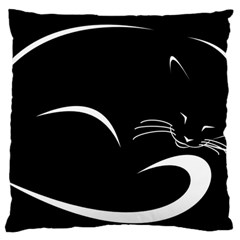 Cat Black Vector Minimalism Standard Flano Cushion Case (Two Sides)
