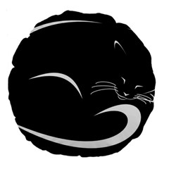 Cat Black Vector Minimalism Large 18  Premium Flano Round Cushions