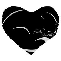 Cat Black Vector Minimalism Large 19  Premium Flano Heart Shape Cushions