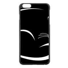 Cat Black Vector Minimalism Apple Iphone 6 Plus/6s Plus Black Enamel Case