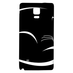 Cat Black Vector Minimalism Galaxy Note 4 Back Case