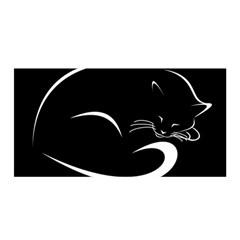 Cat Black Vector Minimalism Satin Wrap