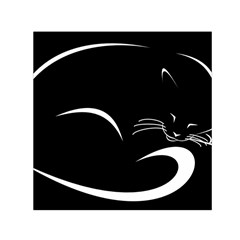 Cat Black Vector Minimalism Small Satin Scarf (Square)