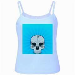 Skull Ball Line Schedule Baby Blue Spaghetti Tank