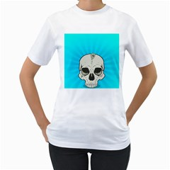 Skull Ball Line Schedule Women s T-Shirt (White) (Two Sided)