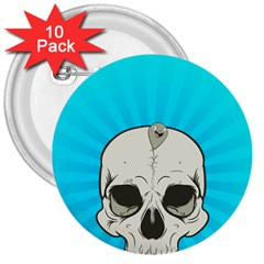 Skull Ball Line Schedule 3  Buttons (10 Pack)