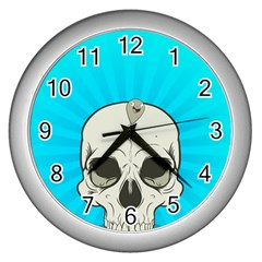 Skull Ball Line Schedule Wall Clocks (silver)