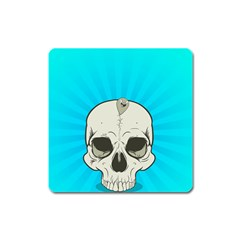 Skull Ball Line Schedule Square Magnet